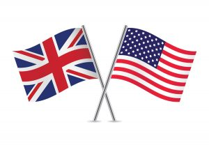 "<alt=""red, blue and white flags (British and American) on silver flag poles""."
