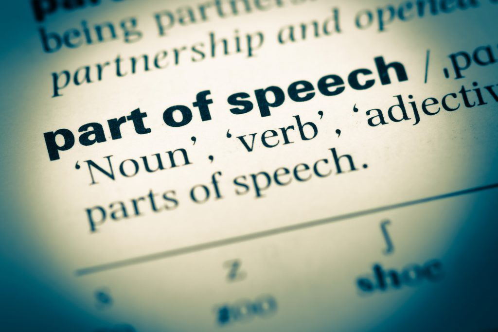 """<alt=""""page from an old dictionary showing the words, parts of speech"""">"""