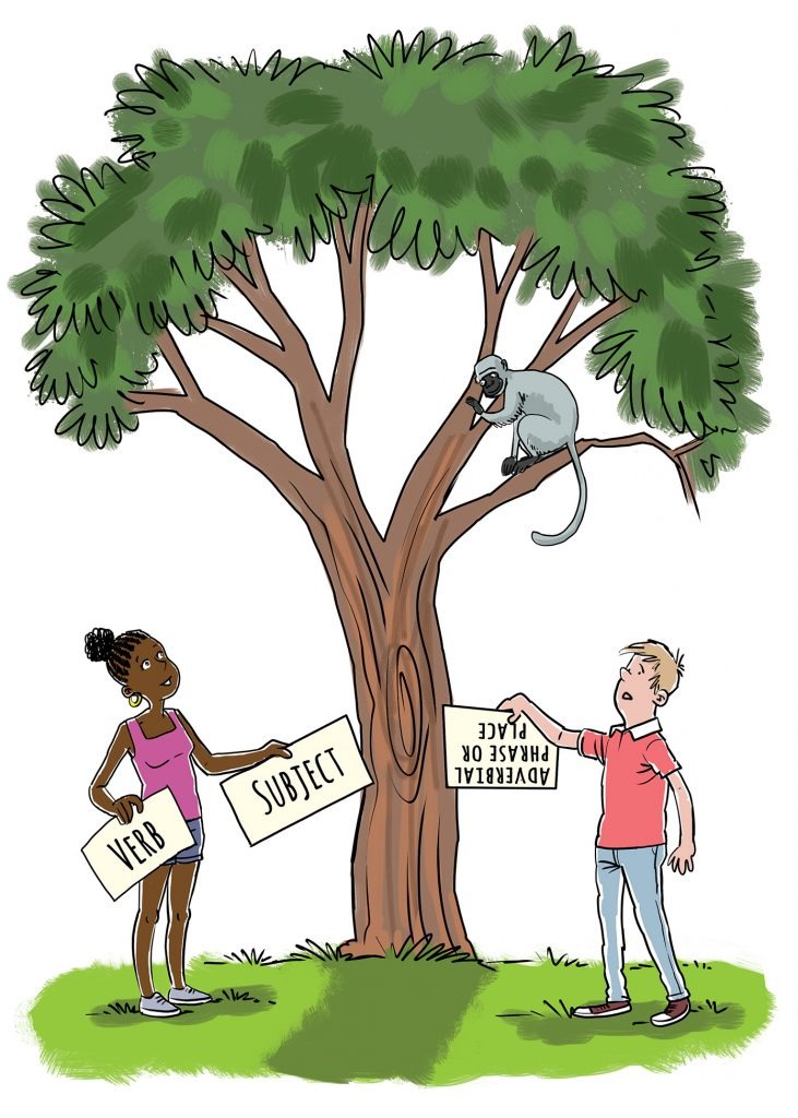 """<alt=cartoon of boy and girl standing under three with signs, with grey monkey looking down from tree"""">"""